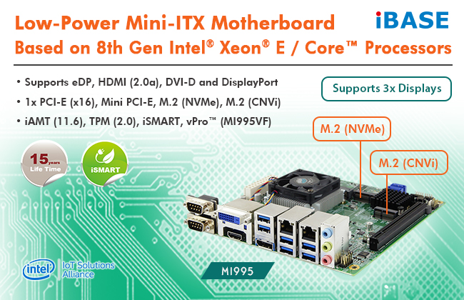 MI995 Mini-ITX Motherboard with M.2 NVMe and CNVi Functions