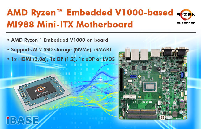 AMD RyzenTM Embedded V1000 Mini-ITX Motherboard