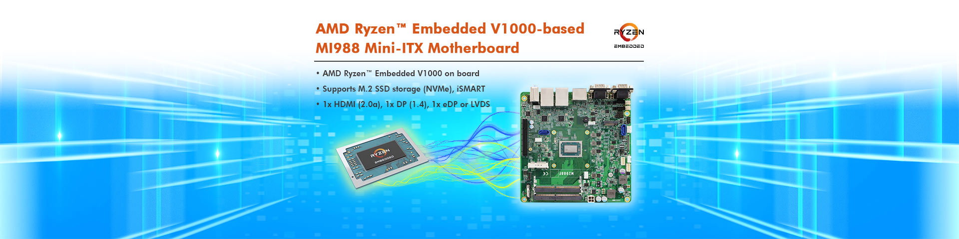 IBASE Unveiled AMD Ryzen™ Embedded V1000-based MI988 Mini-ITX Motherboard