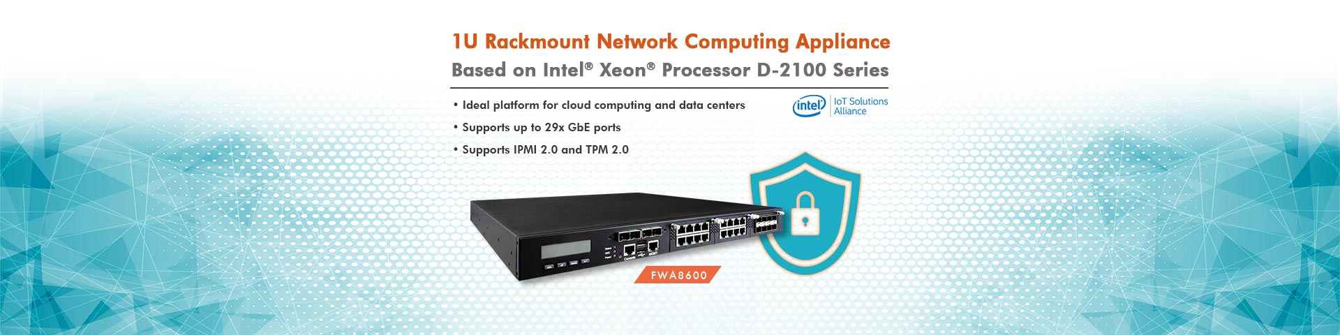 1U Rackmount Network Computing Appliance with Intel® Xeon® Processor D-2100