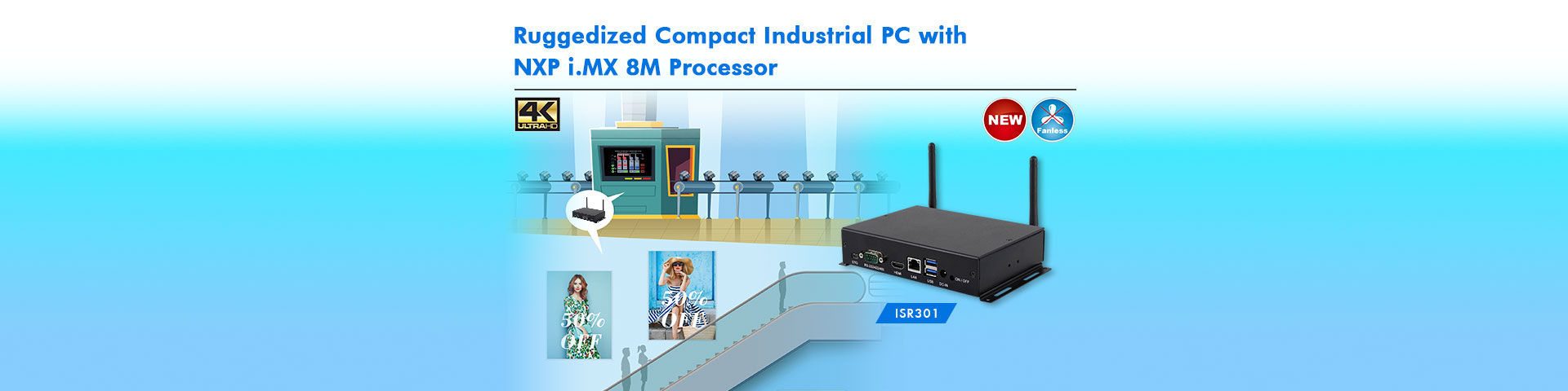 Ruggedized Compact Industrial PC with NXP i.MX 8M Processor